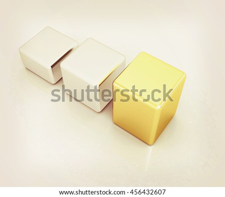 Blocks on a white background. 3D illustration. Vintage style. - stock photo
