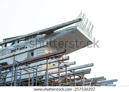 Blocks overpass sling pulled inside. By using the scaffolding to build the base - stock photo