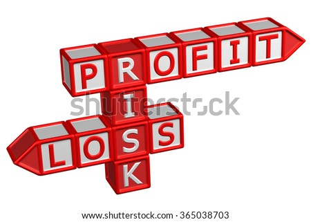Blocks with word Profit, Risk, Loss, isolated on white background. - stock photo