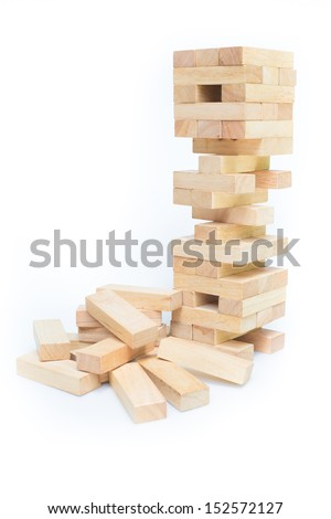 blocks wood game (jenga) on white background. - stock photo