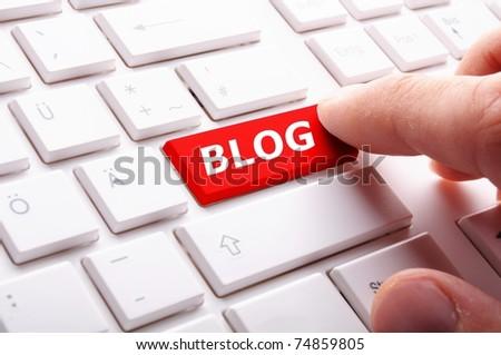 blog bloggar or inernet blogging concept with key - stock photo