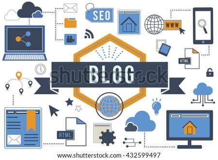 Blog Blogging Website Web Page Concept - stock photo