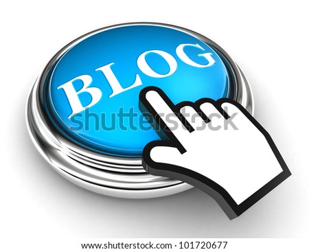 blog blue button and cursor hand on white background. clipping paths included - stock photo