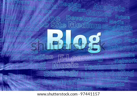 Blog concept in blue virtual space with internet related words - stock photo