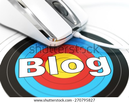 Blog concept. Mouse on the target with text. DOF effect 3d - stock photo