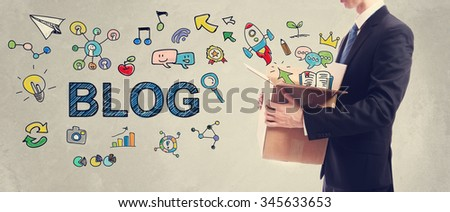 Blog concept with businessman holding a cardboard box - stock photo