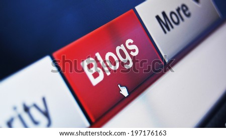 Blog electronic menu and hand cursor on computer screen - stock photo