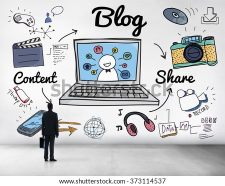 Blog Homepage Content Social Media Online Concept - stock photo