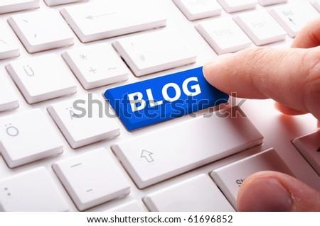 blog key on keyboard showing internet communication concept - stock photo
