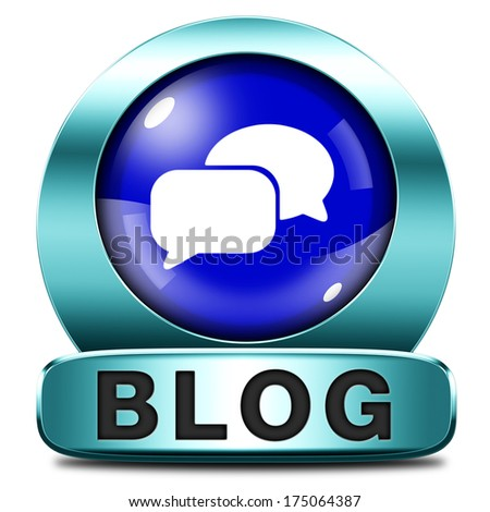 Blog online web log on personal website follow daily blogging - stock photo