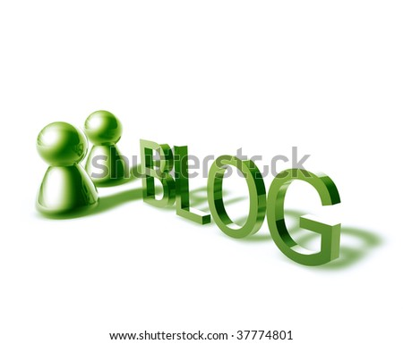 Blog online word graphic, with stylized people icons - stock photo