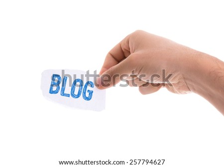 Blog piece of paper isolated on white background - stock photo