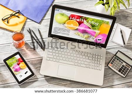 Blog Weblog Media Digital Social Dictionary Online Concept - stock photo