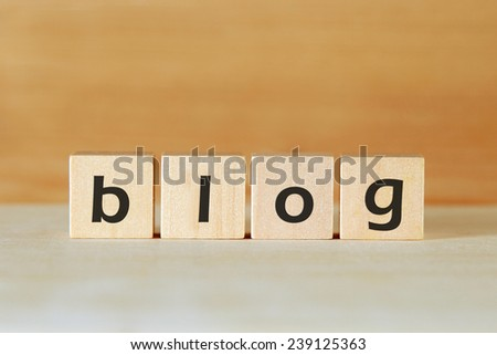 blog word on wood blocks - stock photo