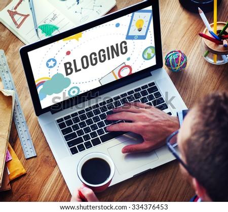 Blogging Blog Internet Media Networking Social Concept - stock photo