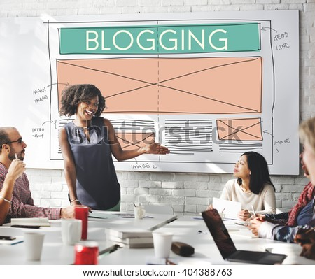 Blogging Blog Social Media Networking Internet Connecting Concept - stock photo