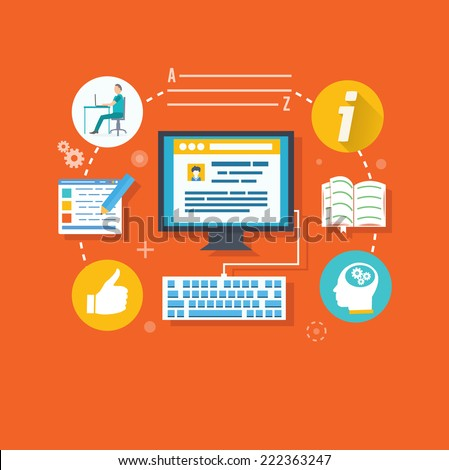 Blogging concept in flat design style. Blogging and writing for website blog. Raster version - stock photo