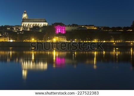 Blois at night, Loire et cher, Centre, France - stock photo