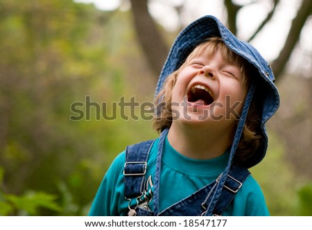 Blond boy are laughing (series Children) - stock photo