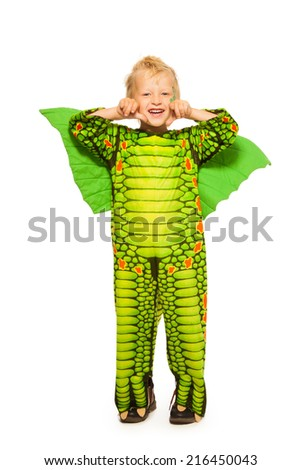 Blond boy in dragon costume full height portrait - stock photo