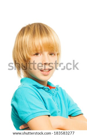 Blond boy portrait - stock photo