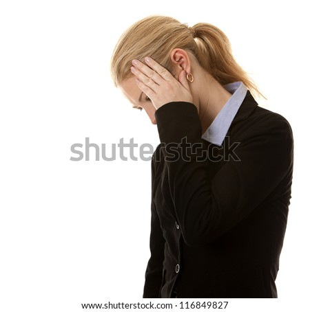 blond business woman hiding her face on white background - stock photo