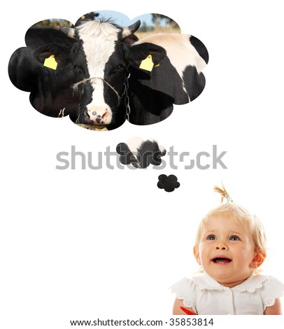 Blond caucasian baby girl thinking about cow (milk) - stock photo