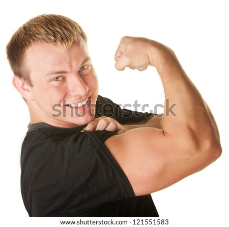 Blond Caucasian man over white background flexing biceps muscle - stock photo