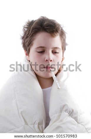 blond child sick with fever, with digital thermometer - stock photo