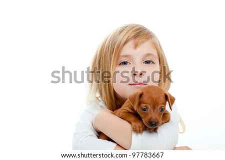 Blond children girl with dog puppy mascot mini pinscher on white background - stock photo