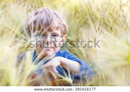 Blond cute kid boy with blue eyes and with glasses walking happily in wheat field on warm and sunny summer day - stock photo