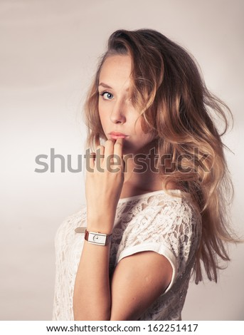 blond face toned image, studio shot - stock photo