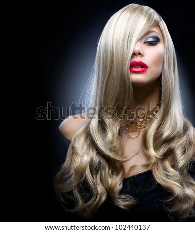 Blond Fashion Girl Portrait - stock photo