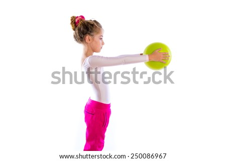 blond fitness kid girls exercise workout with yoga ball on white - stock photo