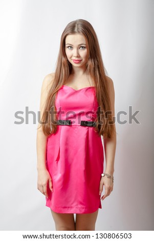 blond girl in pink dress and makeup torso - stock photo