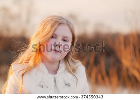 blond girl outdoor - stock photo