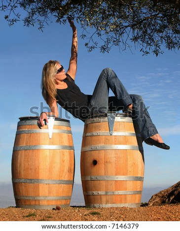 Blond girl sitting on barrels at vineyard - stock photo