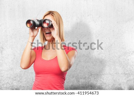 blond girl surprised expression - stock photo