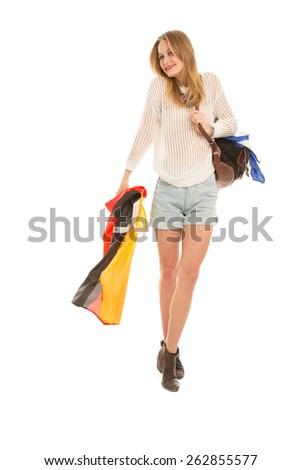 Blond girl with Rain Jacket - stock photo