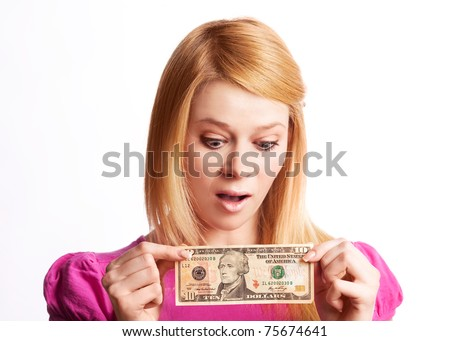 blond girl woman with a ten dollars banknote, isolated against white background - stock photo