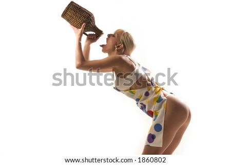 blond is drinking brandy - stock photo