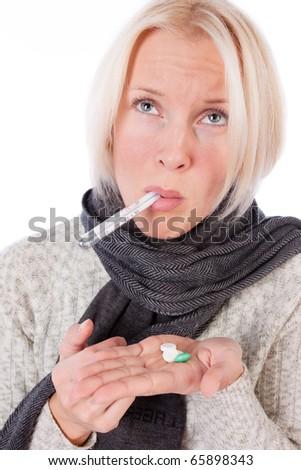 Blond lady isolated on white - stock photo