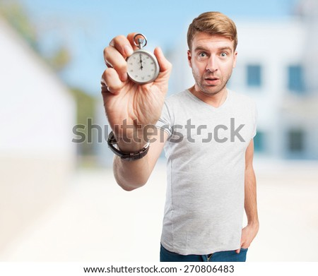 blond man with archives. company built background - stock photo
