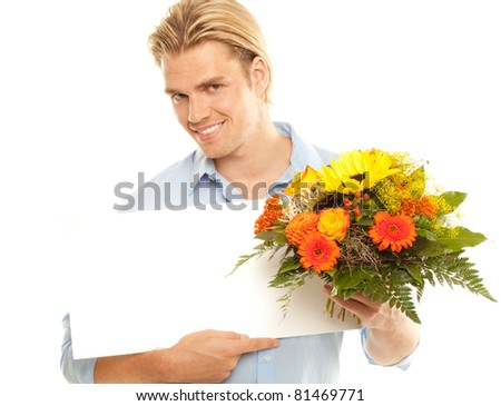 blond man with flowers - stock photo