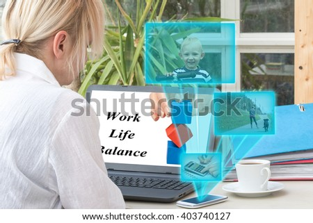 Blond middle aged woman has open a laptop on the office desk. Smart phone is radiating transparent rectangles with a pictures of smiling blond boy, woman in line skating and counting on calculator. - stock photo