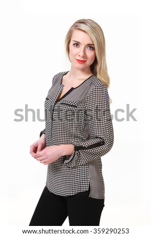 blond pretty fashion model girl with straight long hair style in casual checked shirt and black trousers posing isolated on white close up portrait smiling - stock photo