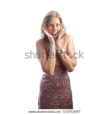blond pretty surprised woman - stock photo