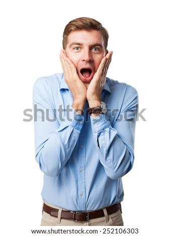 blond surprised man - stock photo