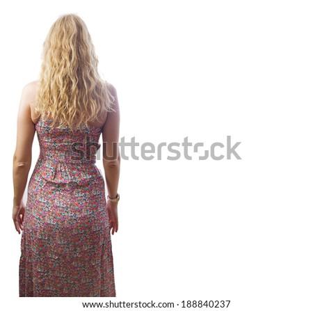 blond woman back - stock photo