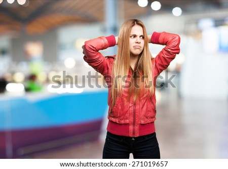 blond woman confused - stock photo